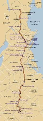 Map of entire Appalachian Trail - 2,179 miles/3,507 km - through 14 states - Georgia, North Carolina, Tennessee, Virginia, West Virginia, Maryland, Pennsylvania, New Jersey, New York, Connecticut, Massachusetts, Vermont, New Hampshire, and Maine